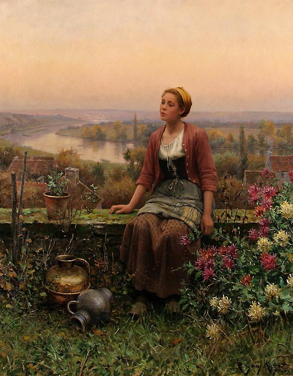 Maria no Terraço - Daniel Ridgway Knight e suas mais belas pinturas
