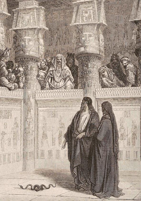 Moisés, com Aarão a seu lado, enfrenta o faraó e derrota os sacerdotes do demônio.  Gravura de Gustave Doré (1832 — 1883)