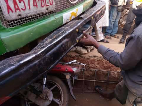 Okada rider and his bike trapped under 911 truck in terrible accident
