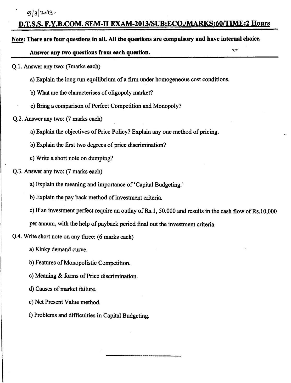 Fybcom Maths Question Papers 2017 Sem 2