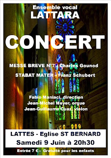Concert de l'Ensemble vocal Lattara 9 juin 2018 Eglise St Bernard