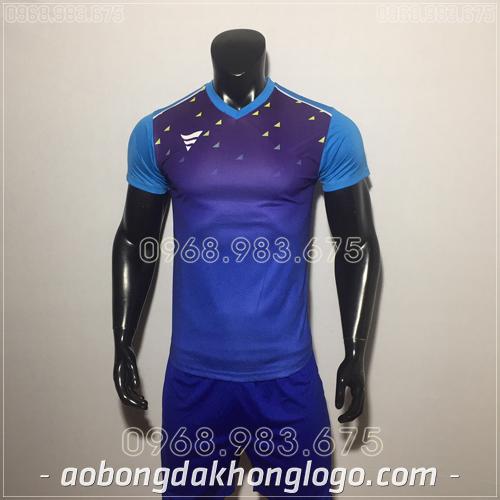Áo bóng đá không logo TA HAT Matic mau xanh