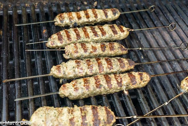 Shish kebab - grillade lammfärsspett