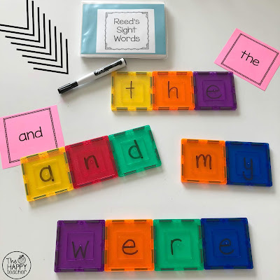 Using magnetic tiles to build sight words