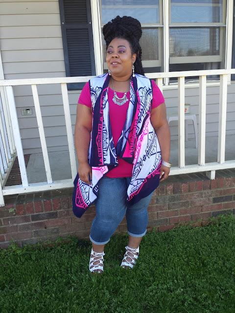 mambo twists, waterfall vest, cropped pants, gladiators
