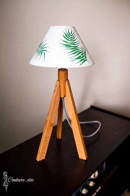 lampa, trójnóg, abażur, handmade