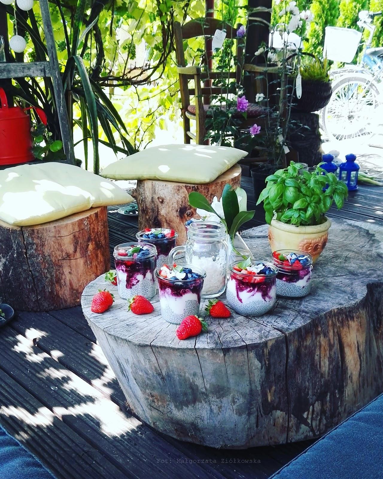 Bezcukrowy fit deser z sosem jagodowym