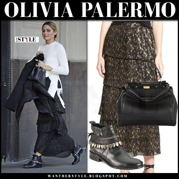 Olivia Palermo in white sweater and black printed tiered maxi skirt chelsea28 what she wore streetstyle