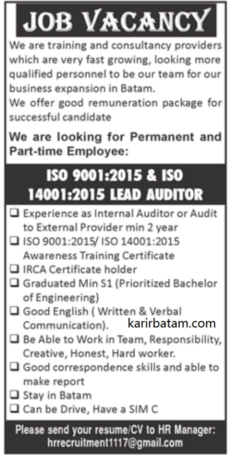 Butuh Pekerja yang Paham ISO 9001:2015 dan ISO 14001:2015 Lead Auditor