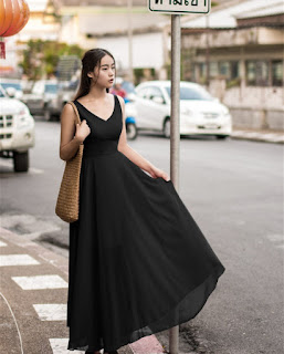 Long Dress Cantik Model Korea