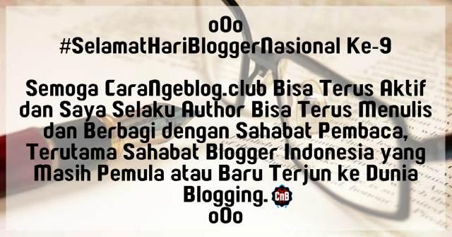 27 Oktober 2016, Selamat Hari Blogger Nasional yang Ke-9