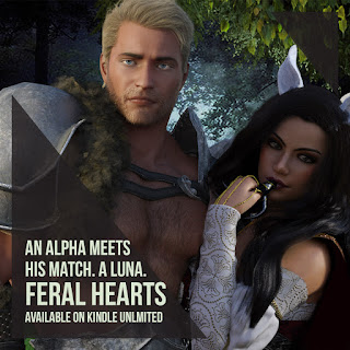 Werewolf Shifter Romance, Blonde Male holds a Beautiful Woman