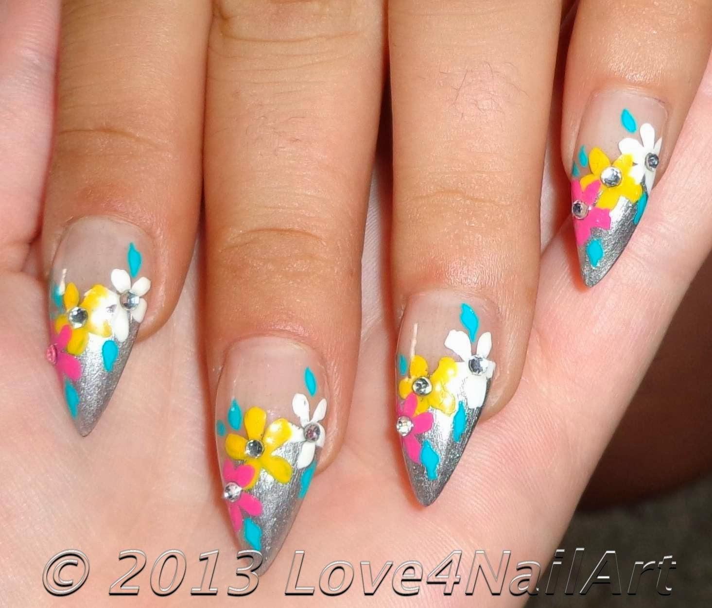 Love4NailArt: Flowery Nail Art For Stiletto Nails