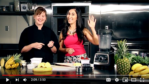 snapshot from video featuring chef erin and reporter  Lisa Acquafredda