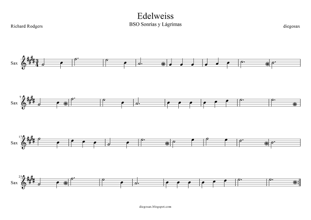 Partitura de Edelweiss para tocar con Saxofón Alto junto con la música del vídeo. Sax Sheet Music Edelweiss (music score). También partitura para Saxofón de Edelweiss versión Fácil (pinchad aquí)