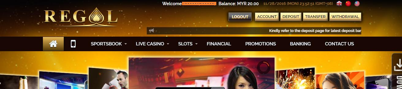 Regal88 Online Casino Malaysia: 2017