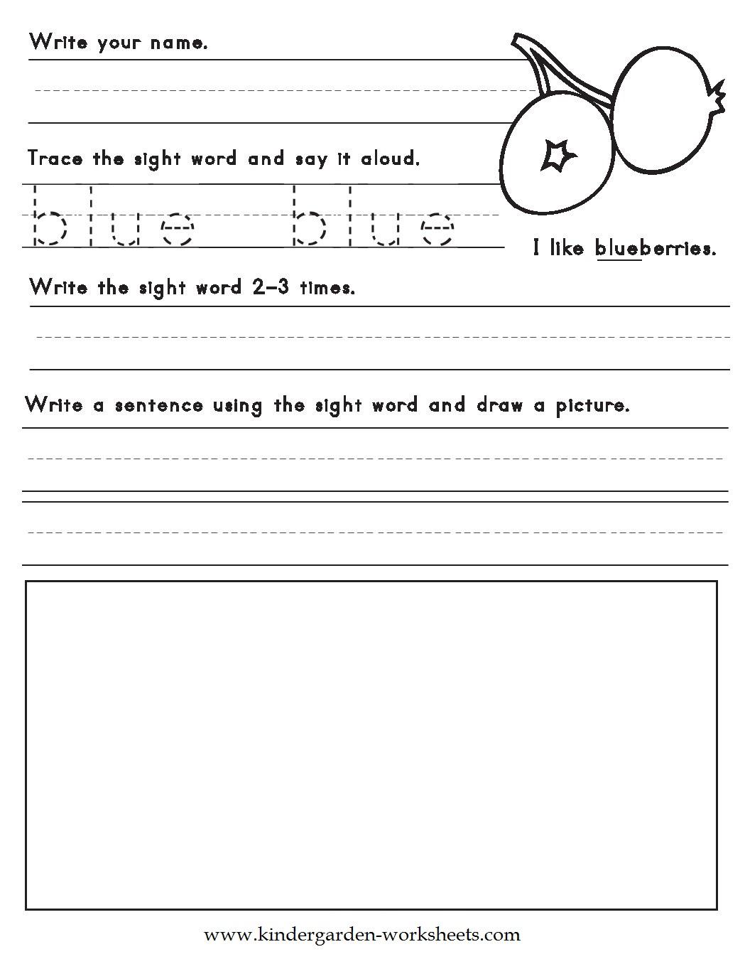 Kindergarten Worksheets: Color Words Worksheets - Blue