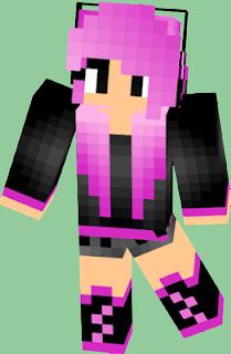 chica de minecraft de cabello rosa
