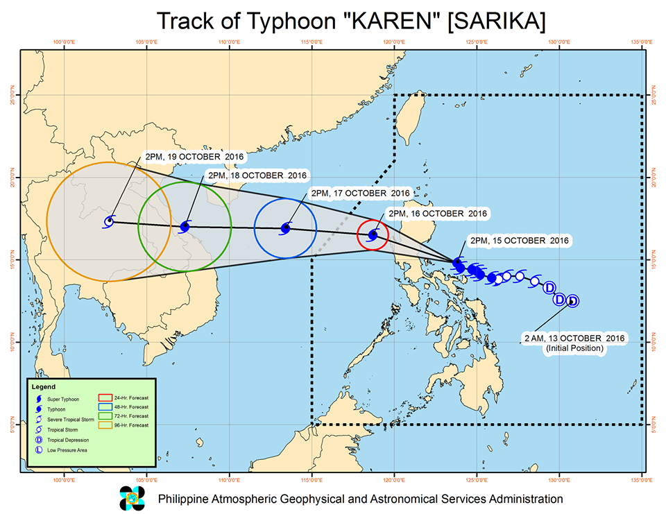 Typhoon Karen track October 15