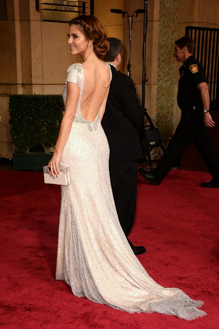 Maria Menounos in an embellished backless Johanna Johnson ...