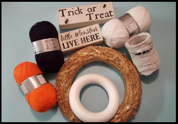 Materials needed to make Halloween Wreaths