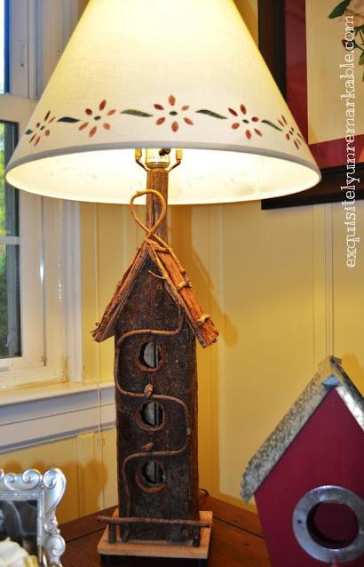 Birdhouse lamp on a table