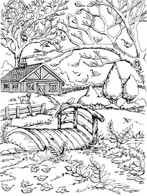 autumn scenes coloring book sample 03