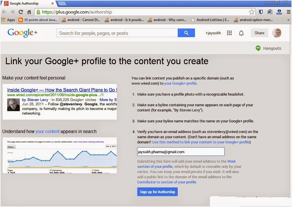 Google authorship with Google plus profile - step 1