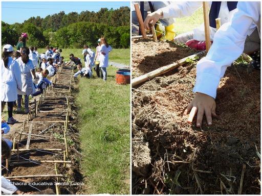 Grupo de escolares preparando las parcelas de la huerta - Chacra Educativa Santa Lucía