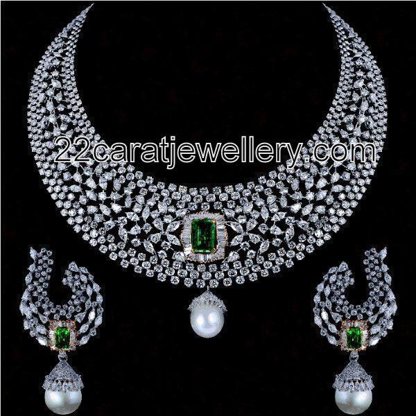 Very Elegant Diamond Necklaces Jewellery Designs