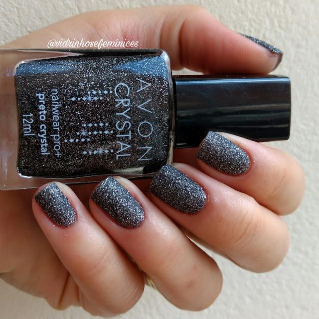 esmalte avon preto crystal texturizado