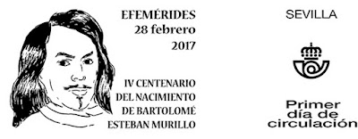 Filatelia 2017 - IV Centenario del nacimiento de Murillo - Matasellos Primer día de circulación