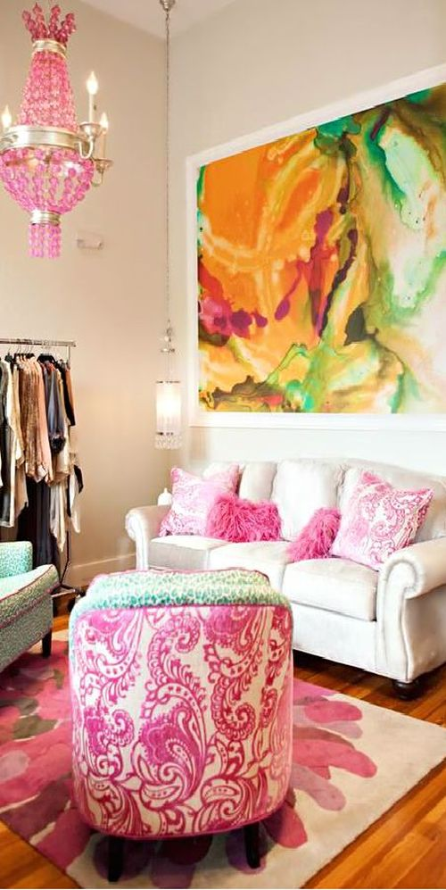 bright pink and bold living room