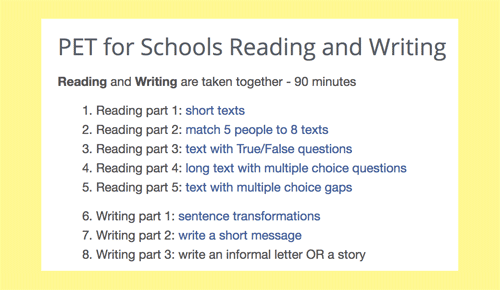 PET for school reading and writing practice