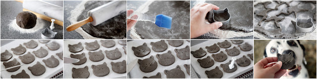 Step-by-step making homemade Halloween dog treats shaped like black cats
