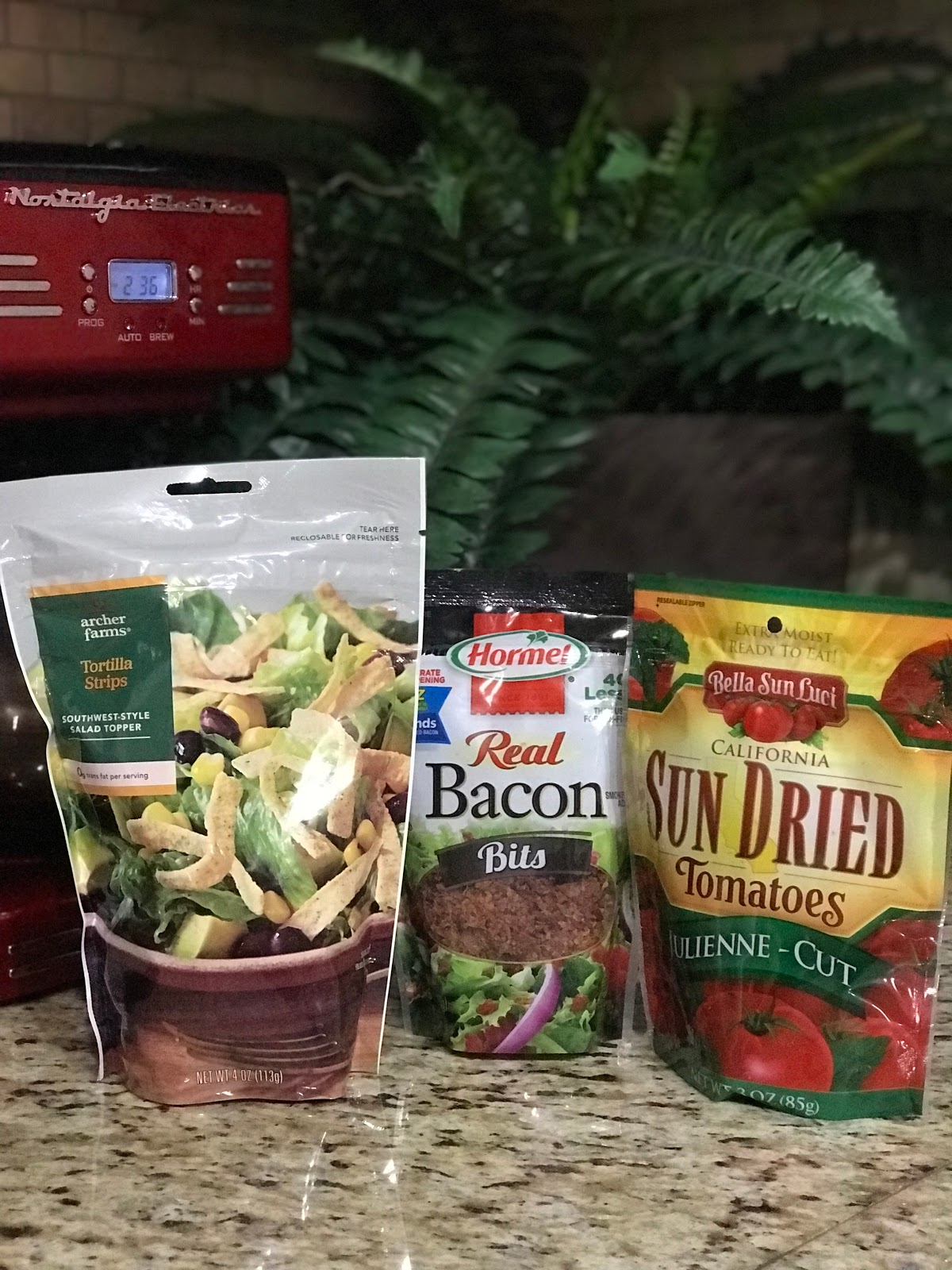 Image : chips, bacon bits sun dried tomatoes items that Tangie Bell will be using her her pretend homemade soup