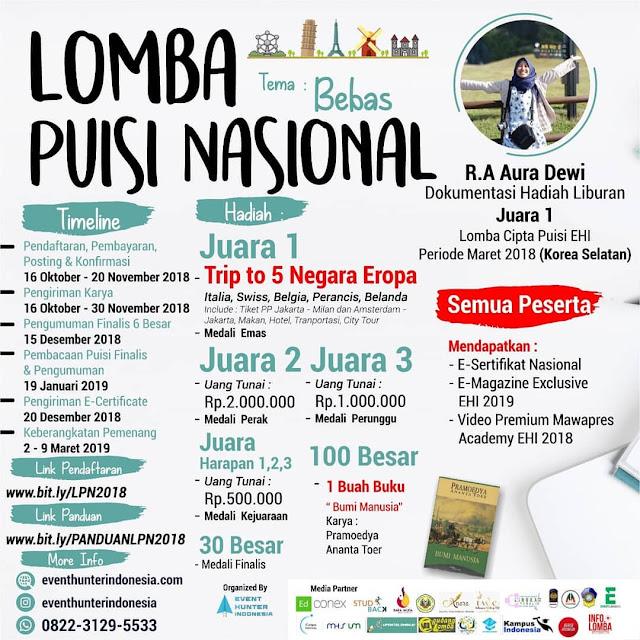 Lomba Puisi Nasional 2018 Event Hunter Indo Untuk Umum