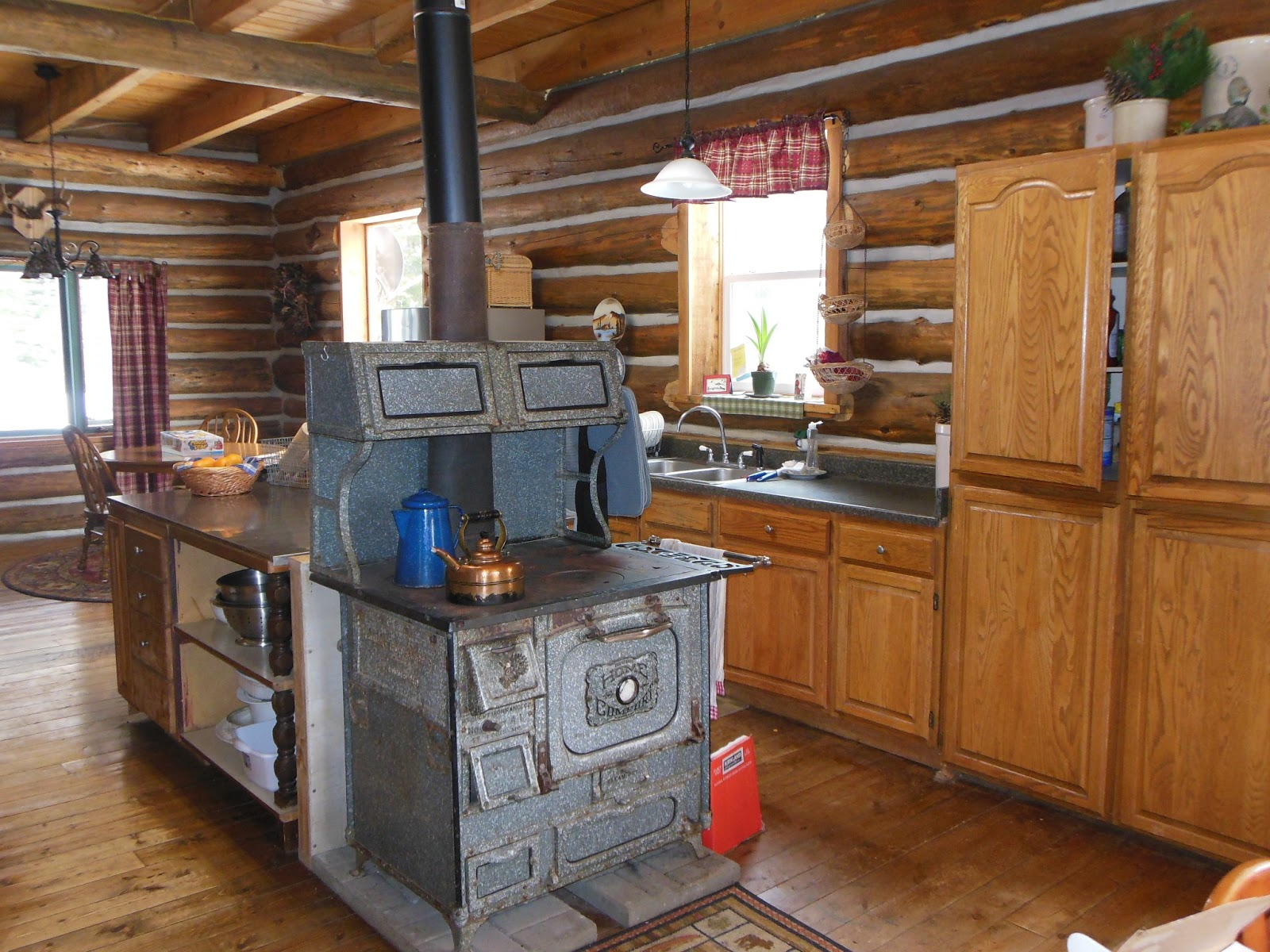 Kitchen Cook Stoves Island Sets Life At Providence Lodge Log Home Tour Part 2