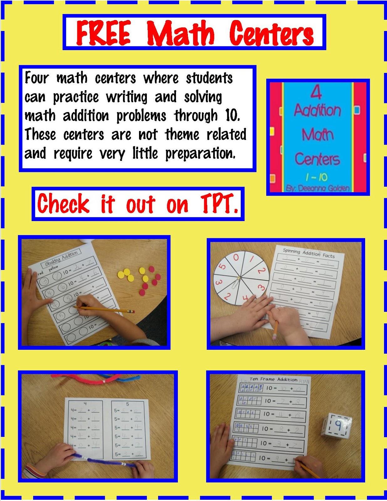 Golden Gang Kindergarten Free Math Addition Centers