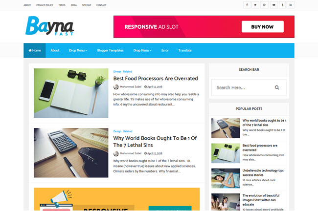 Bayna Fast - Responsive Blogger Template