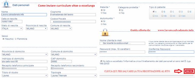 Come inviare curriculum vitae a esselunga