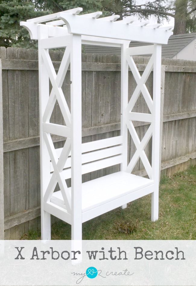 Build a beautiful X Arbor with Bench for your back yard or garden, MyLove2Create
