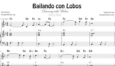 Bailando con Lobos de John Barry Partitura de Flauta, Violín, Saxofón Alto, Tablaturas de Guitarra, Notas, Trompeta, Viola, Piano, Oboe, Clarinete, Saxo Tenor, Soprano Sax, Trombón, Fliscorno, chelo, Fagot, Barítono, Bombardino, Contrabajo, Trompa o Corno, Notas, Violonchelo, Tuba...