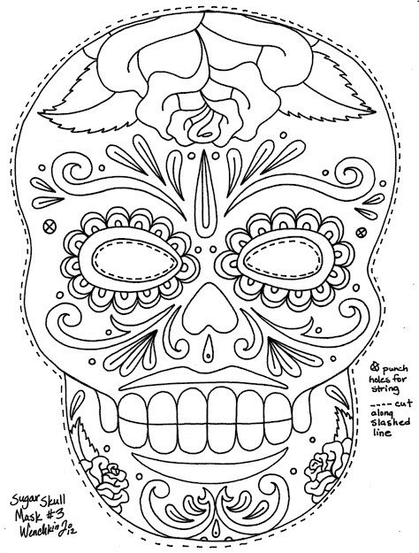 Great Sugar Skull Mask Template Fun To Color Fun To Wear Yucca