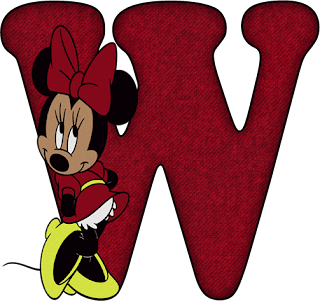 Alfabeto de Minnie en Rojo. Alphabet with Minnie in Red.