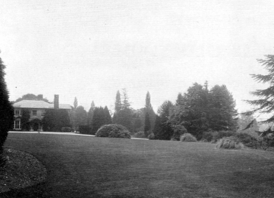 Photograph of the lawns at Leggatts taken from the 1911 auction brochure