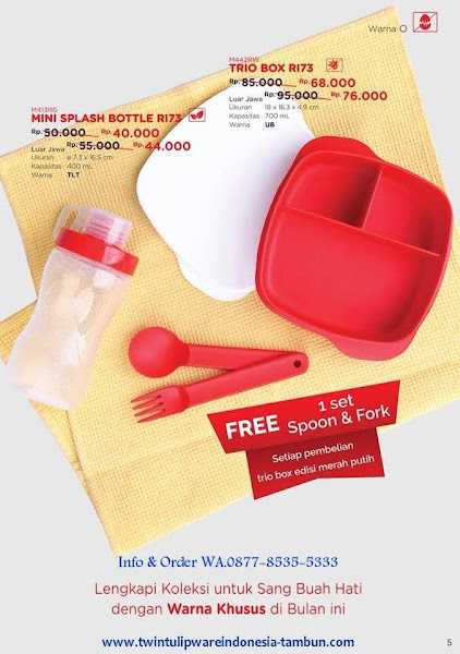 Promo Diskon Tulipware Juli 2018, Mini Splash Bottle, Trio Box