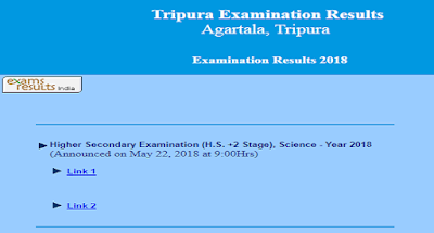 Check Tripura H.S. 12th  Science Result 2018 at tripuraresults.nic.in