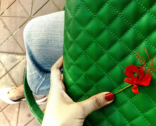 green Crossbody quilted bag