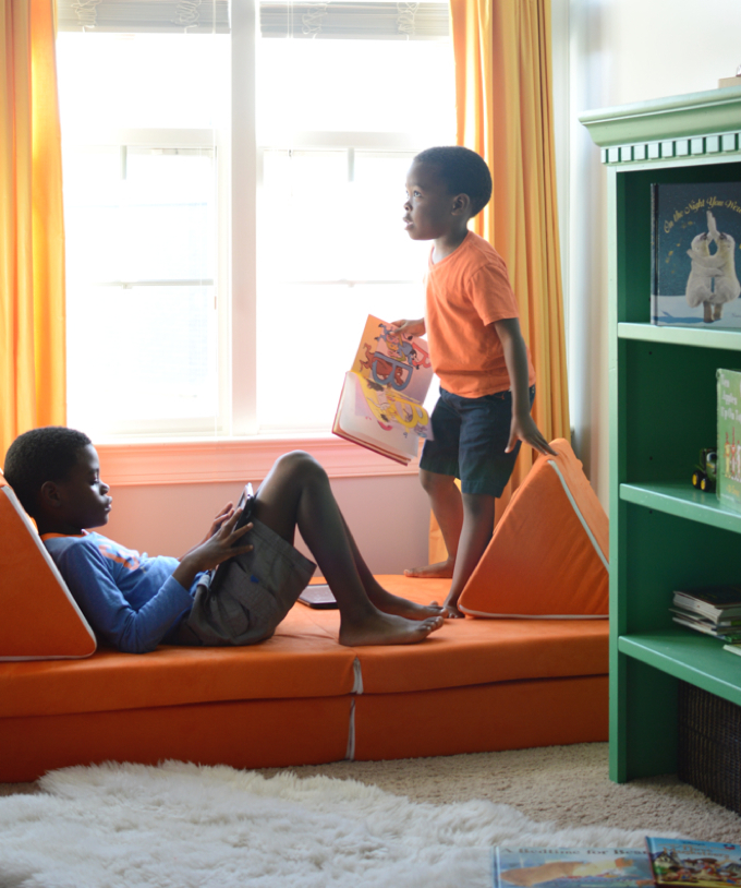 Brothers Chill in the Dormer of Kids Room